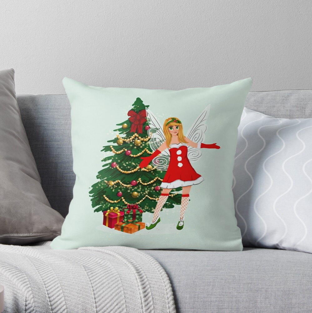Greetings Fairy Lovers This Is Holly's Magical Fairy Tale Christmas™ Throw Pillow