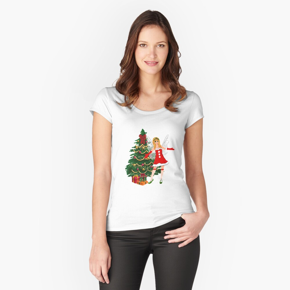 Greetings Fairy Lovers This Is Holly's Magical Fairy Tale Christmas™ Fitted Scoop T-Shirt