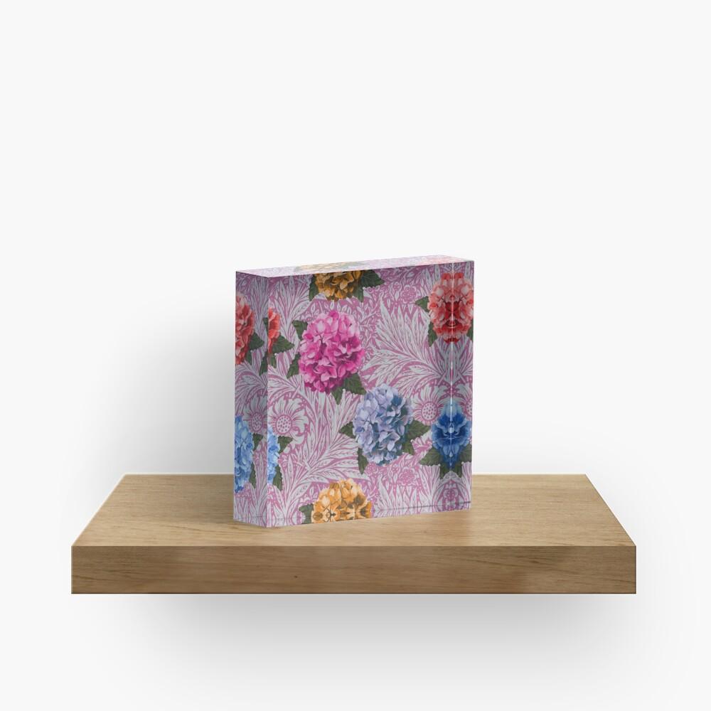 Hydrangea Riot in Pink Acrylic Block