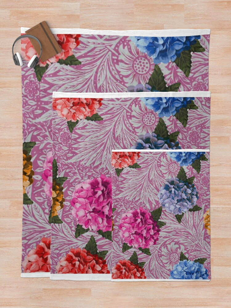 Alternate view of Hydrangea Riot in Pink Throw Blanket