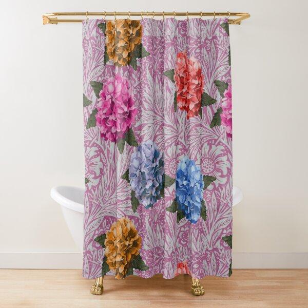Hydrangea Riot in Pink Shower Curtain