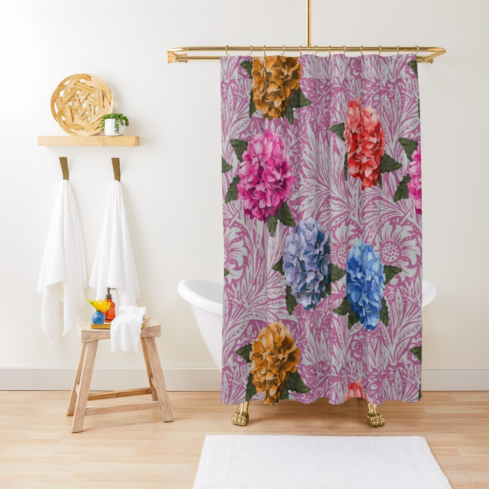 Hydrangea Riot in Pink Shower Curtain