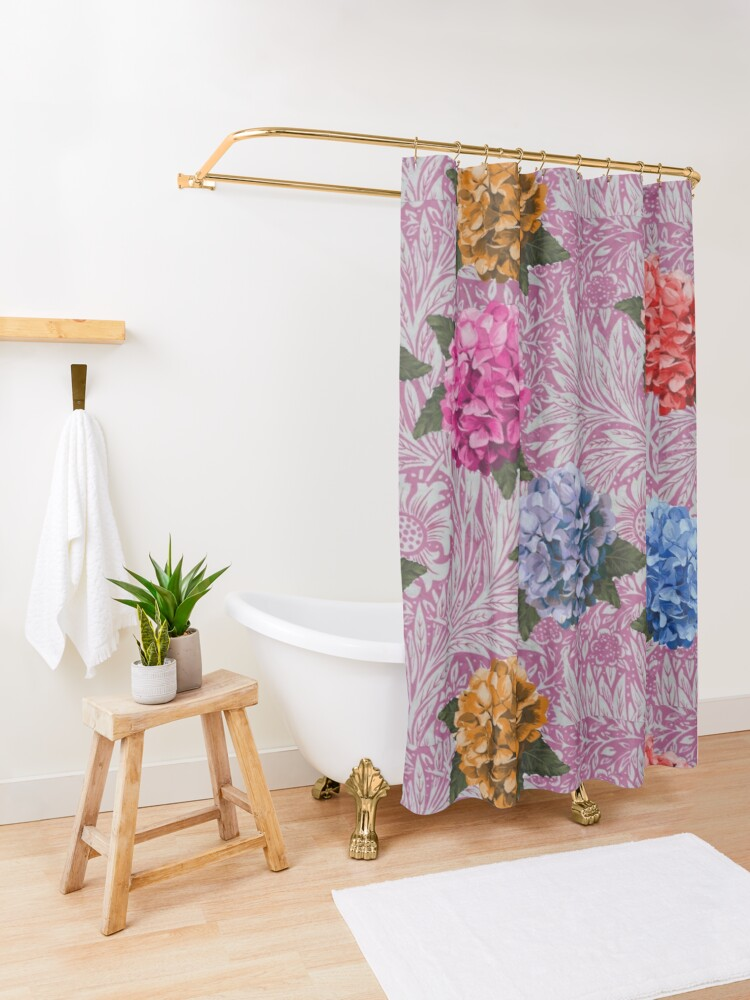 Alternate view of Hydrangea Riot in Pink Shower Curtain
