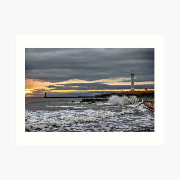 Seaburn and Roker Lighthouses Art Print
