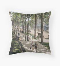 Broadway in Saratoga Springs, New York, ca 1915 (16:9 crop)  Throw Pillow