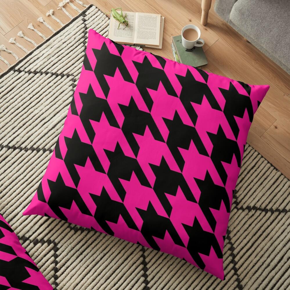 pink houndstooth  Floor Pillow