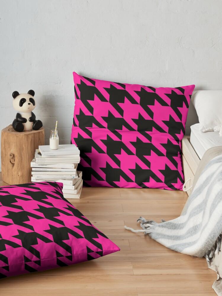 Alternate view of pink houndstooth  Floor Pillow