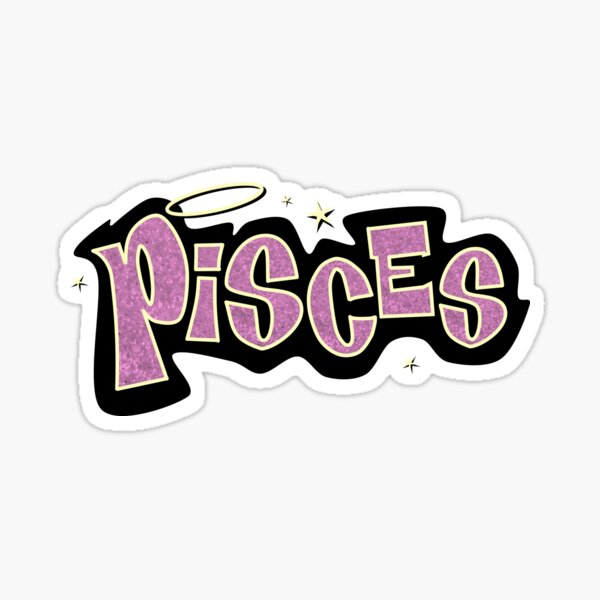 pisces bratz style - iconic pink glitter font logo cute y2k aesthetic Pegatina