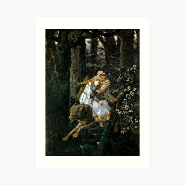 Ivan Tsarevich riding the Gray Wolf - Viktor Vasnetsov Art Print