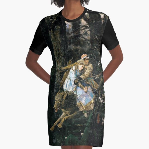 Ivan Tsarevich riding the Gray Wolf - Viktor Vasnetsov Graphic T-Shirt Dress