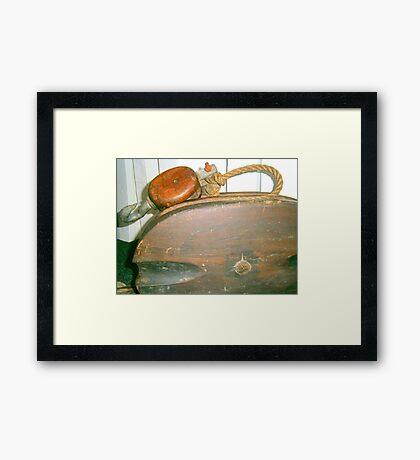 Old Boat Pulley Framed Print