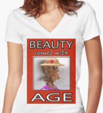 BEAUTY COMES WITH AGE Women's Fitted V-Neck T-Shirt