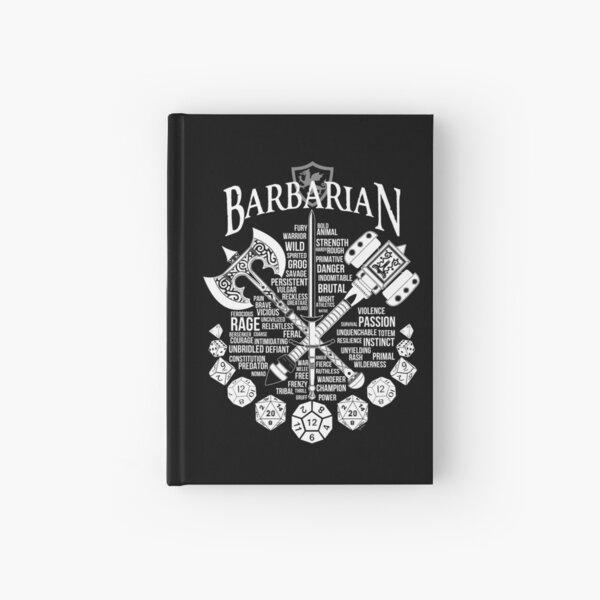 con este diseño furiosamente bueno.  También disponible en negro aquí: http://www.redbubble.com/people/milmino/works/24081562-rpg-class-series-barbarian-black-version?asc=u  ¡Más clases próximamente! Cuaderno de tapa dura