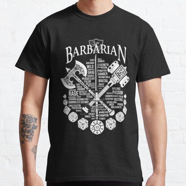 mit diesem wütend guten Design.  Auch hier in Schwarz erhältlich: http://www.redbubble.com/people/milmino/works/24081562-rpg-class-series-barbarian-black-version?asc=u  Weitere Klassen folgen in Kürze! Classic T-Shirt