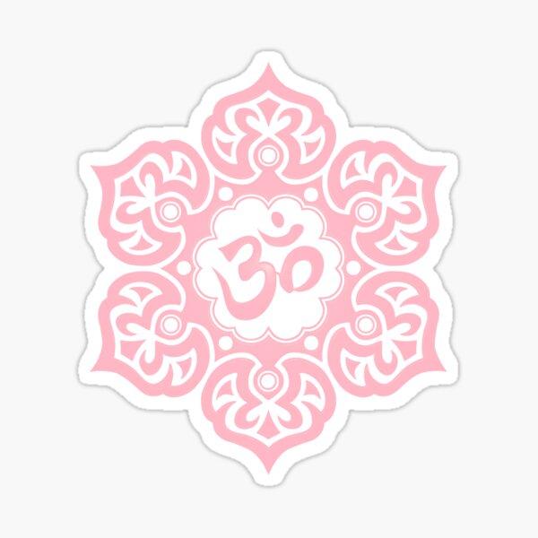 Pink Lotus Flower Yoga Om Sticker