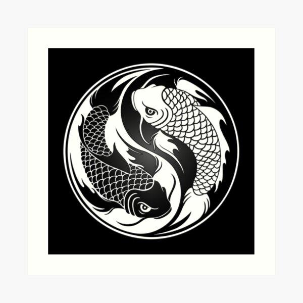 Black and White Yin Yang Koi Fish Art Print