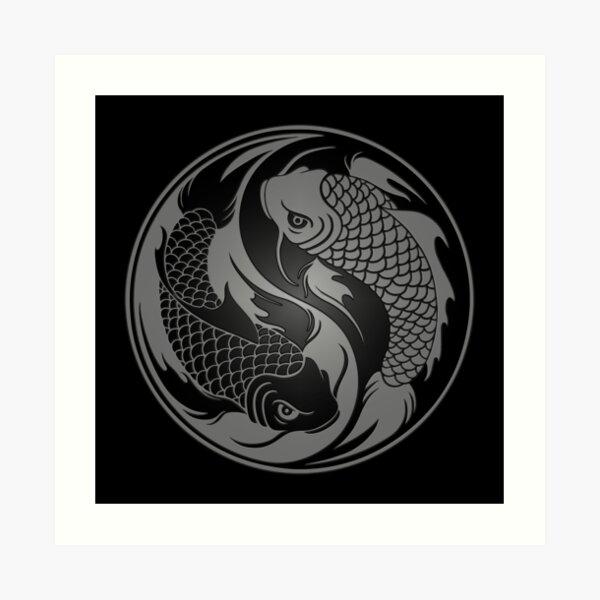 Gray and Black Yin Yang Koi Fish Art Print