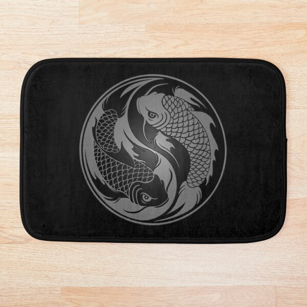 Gray and Black Yin Yang Koi Fish Bath Mat