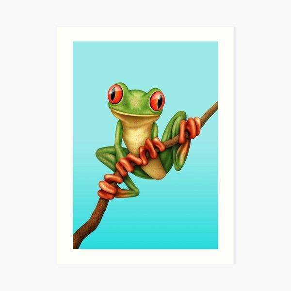 Cute Green Tree Frog on a Branch Art Print