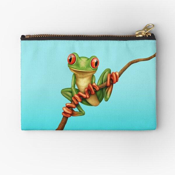 Cute Green Tree Frog on a Branch Zipper Pouch