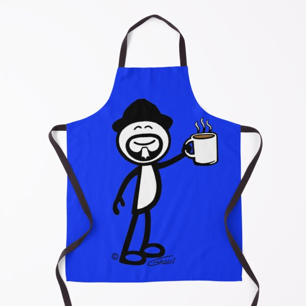 GG Coffee Guy Stick Figure Blue Background Apron