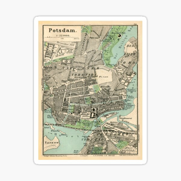 Vintage Map of Potsdam Germany (1898) Sticker