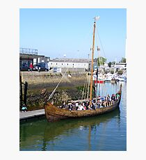 Viking Ship, Cherbourg Harbour, with a Party on Board Fotodruck
