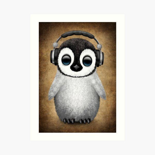 Cute Baby Penguin Dj Wearing Headphones Art Print