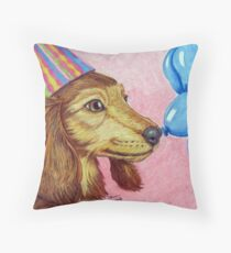 Birthday Doxie Throw Pillow