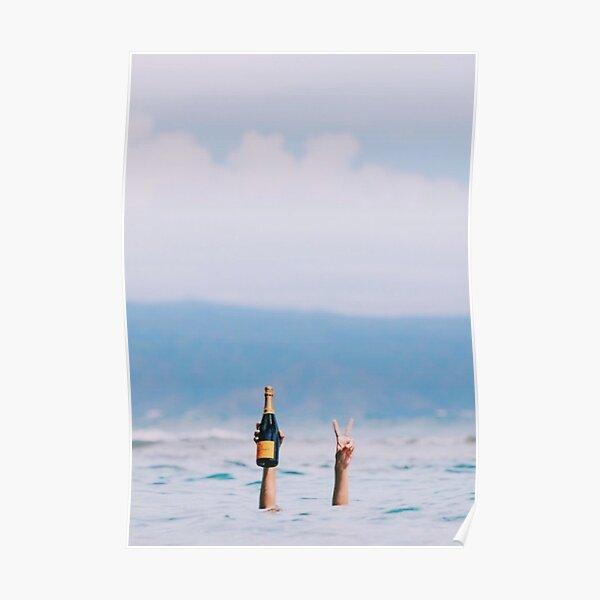 Champagne dans l'océan Poster