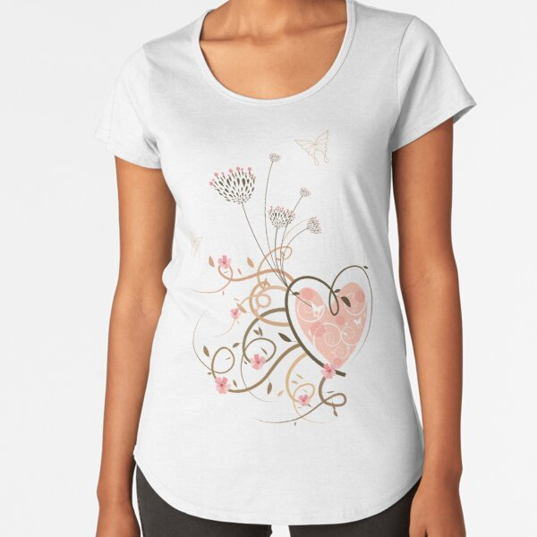 Pink Heart, Butterflies and Floral Swirls II Premium Scoop T-Shirt