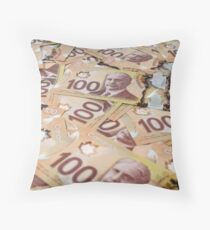100 Canadian dollar banknotes. Throw Pillow