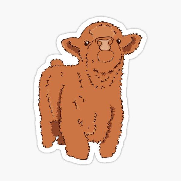Brown Fluffy Cow Sticker