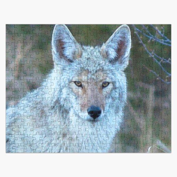 Watercolor Coyote 14, Estes Park, Colorado, Grey Light Lingering Jigsaw Puzzle