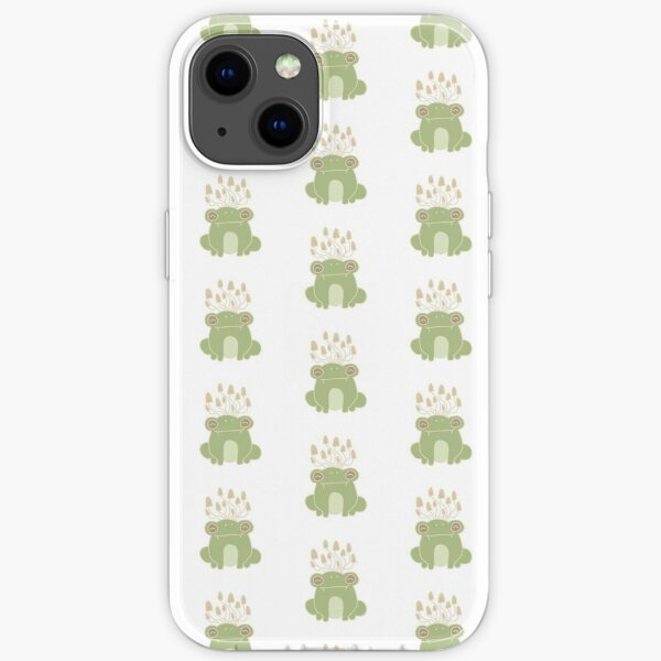 Frog with Mushrooms Pattern iPhone Soft Case