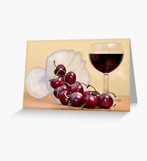 Red cherries and wine Greeting Card
