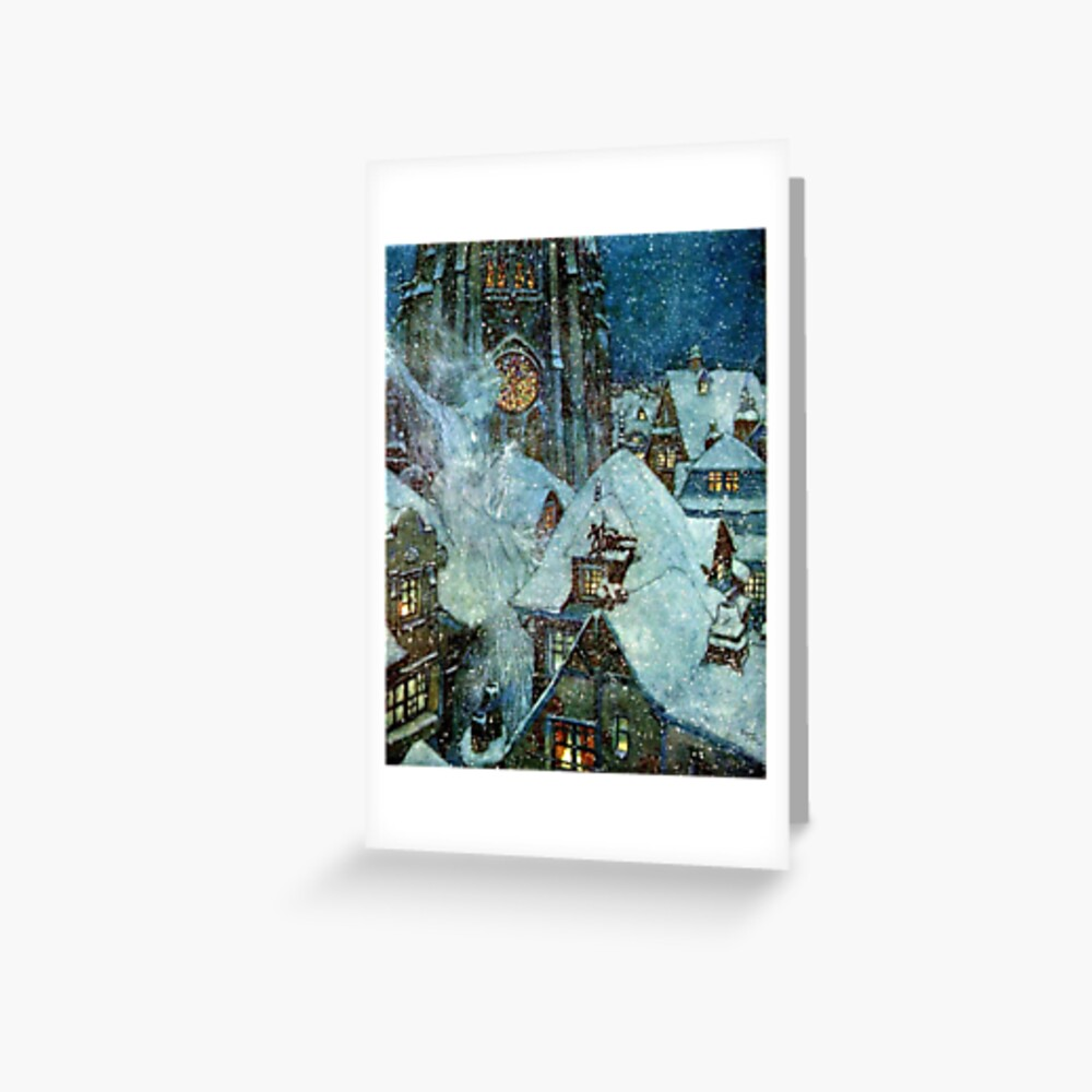 The Snow Queen Flies Over A Snowy Christmas Village - Edmund Dulac Greeting Card