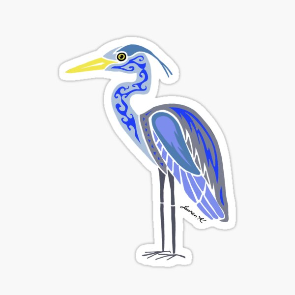 Great Blue Heron Colored  Sticker