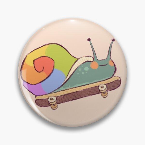 pride snail on a skateboard Pin