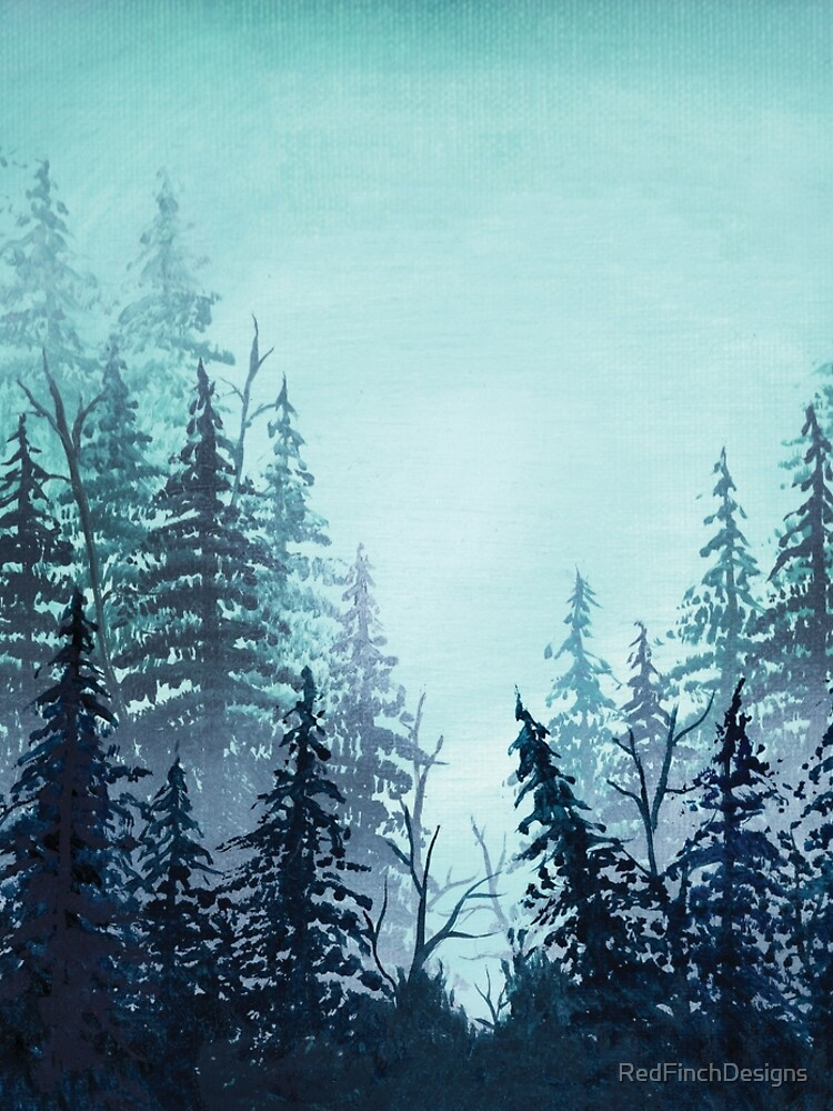 Turquoise misty pine forest oil painting.  by RedFinchDesigns
