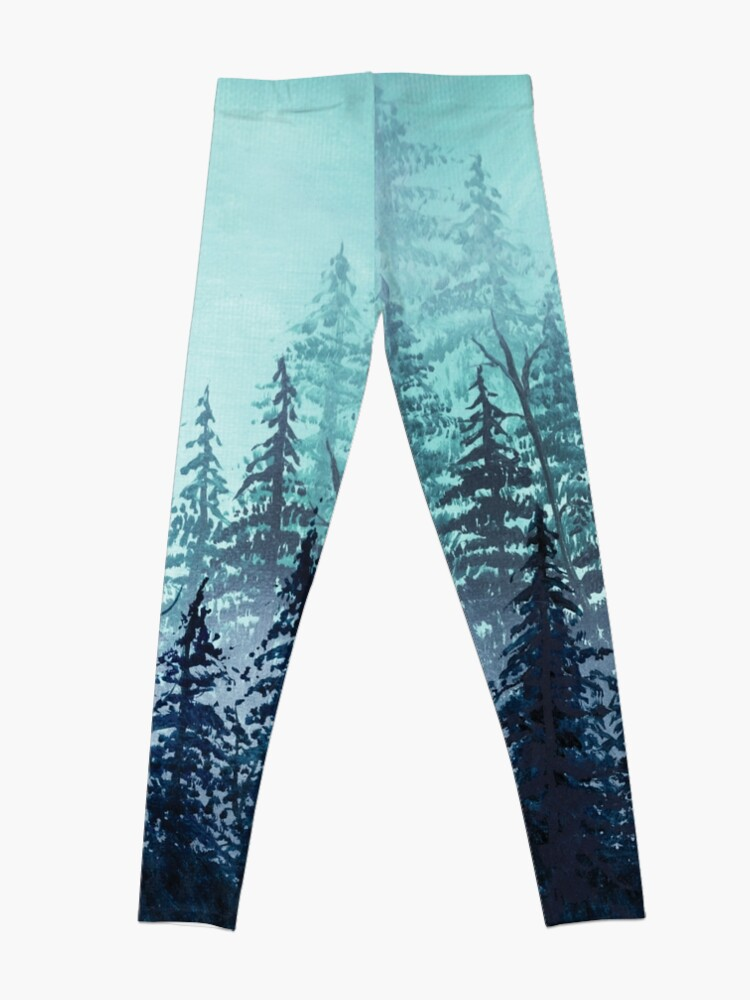 Alternate view of Turquoise misty pine forest oil painting.  Leggings