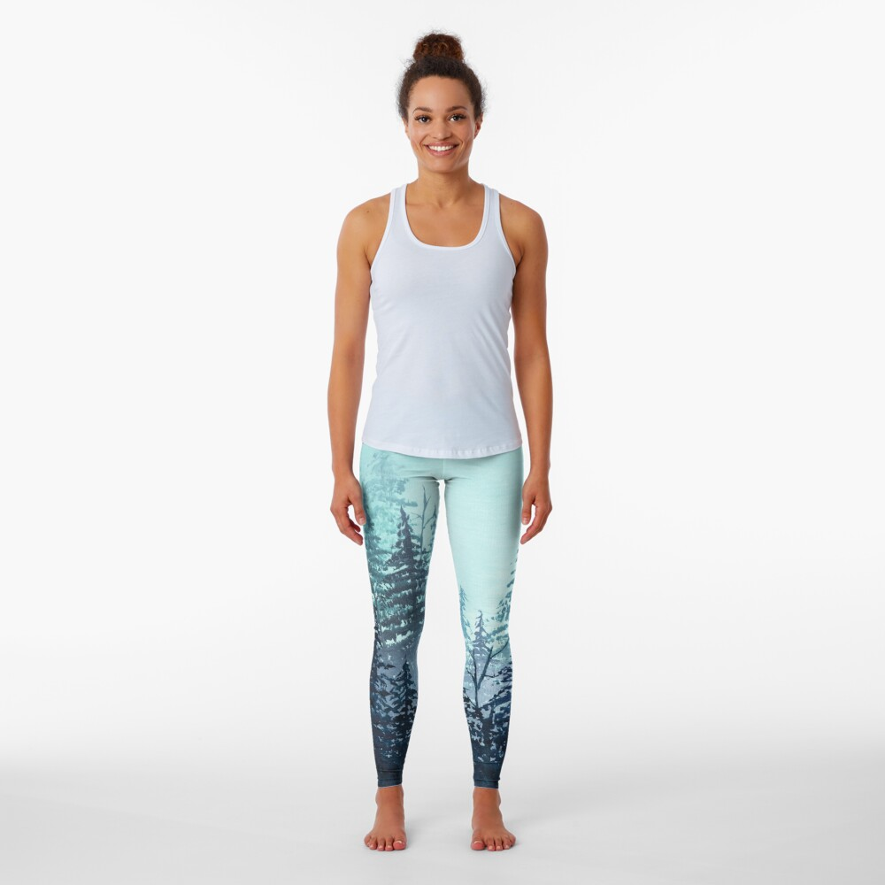 Turquoise misty pine forest oil painting.  Leggings