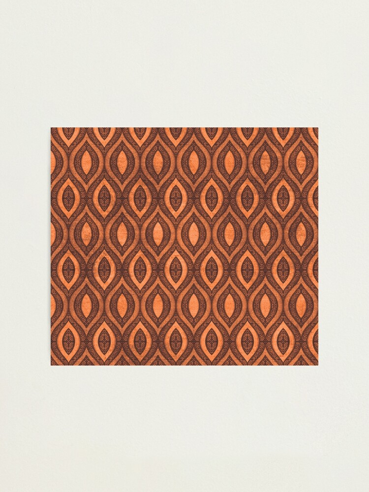Alternate view of Traditional Indonesian batik ethnic pattern design light brown orange Photographic Print