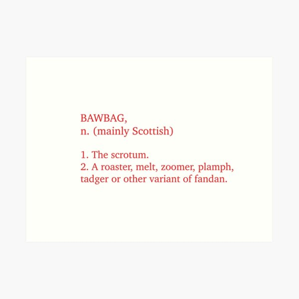 The Very Definition Of A Bawbag. Art Print