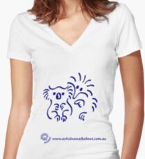 Echidna cartoon with koala - blue Women's Fitted V-Neck T-Shirt