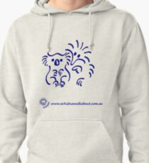 Echidna cartoon with koala - blue Pullover Hoodie