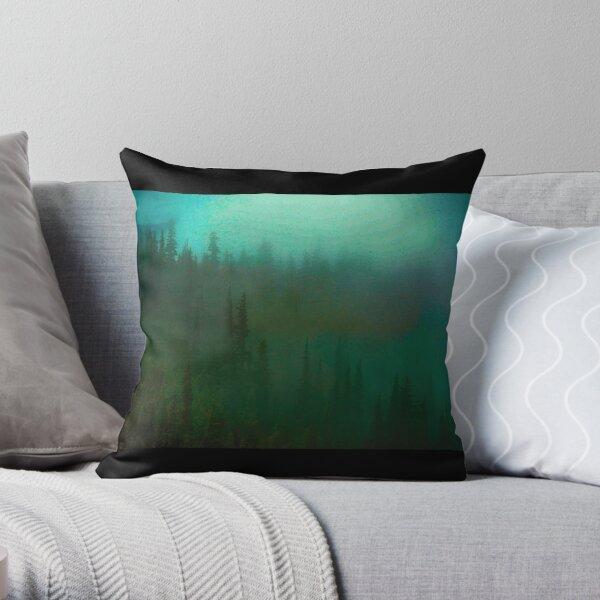 deep fog woods Throw Pillow