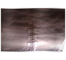 Joe Mortelliti Gallery - Lightning storm at Grovedale, suburban Geelong, Victoria, Australia. Poster