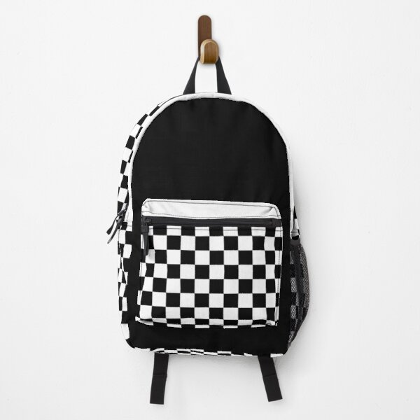 Black And White Checkered Backpack