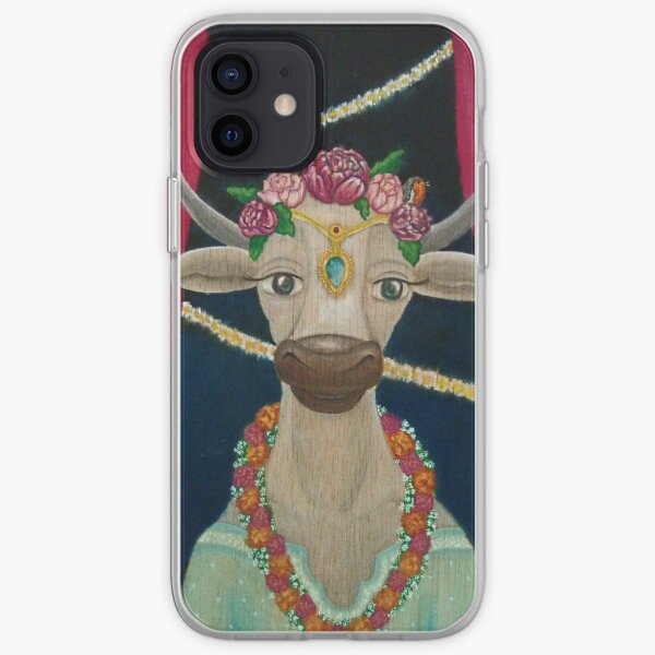 Cow Bride with Aquamarine Gemstone Indian Headpiece iPhone Soft Case